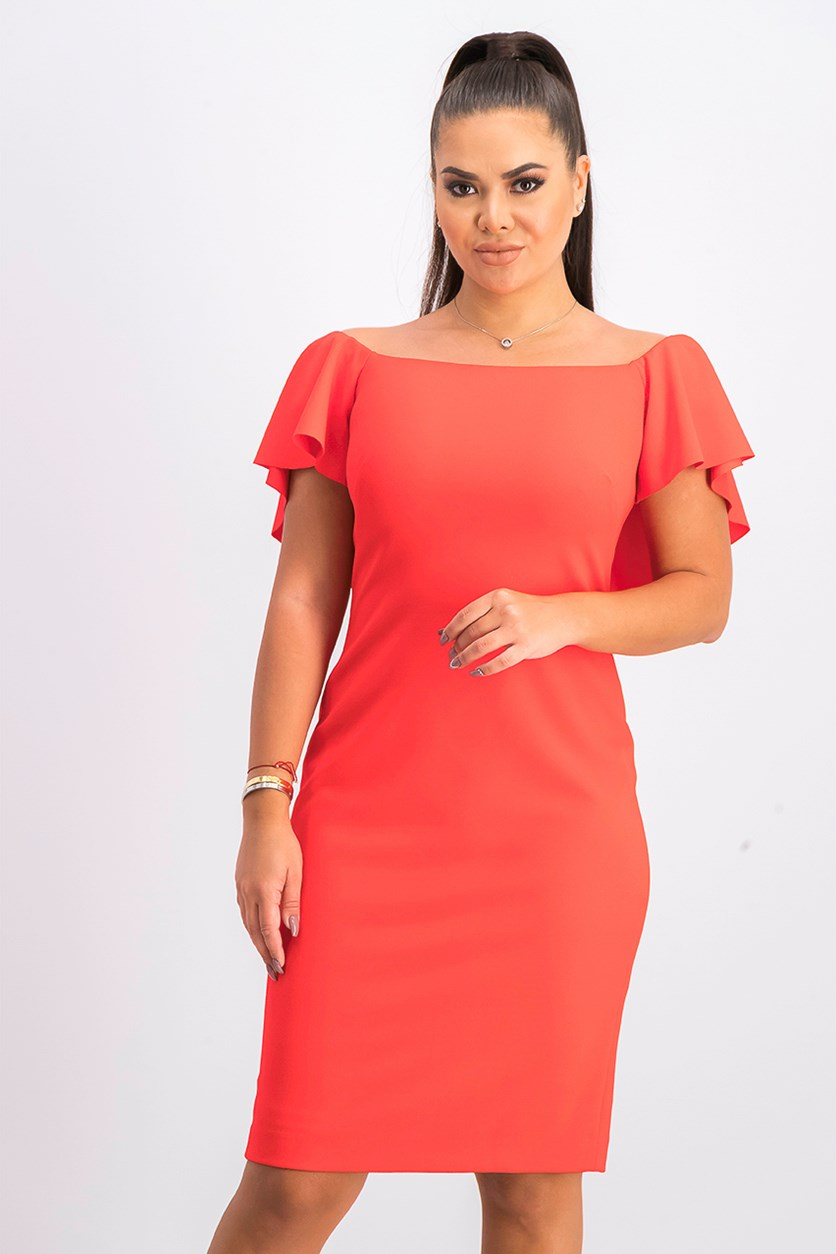 Women's Ruffle Sleeve Sheath Dress, Red