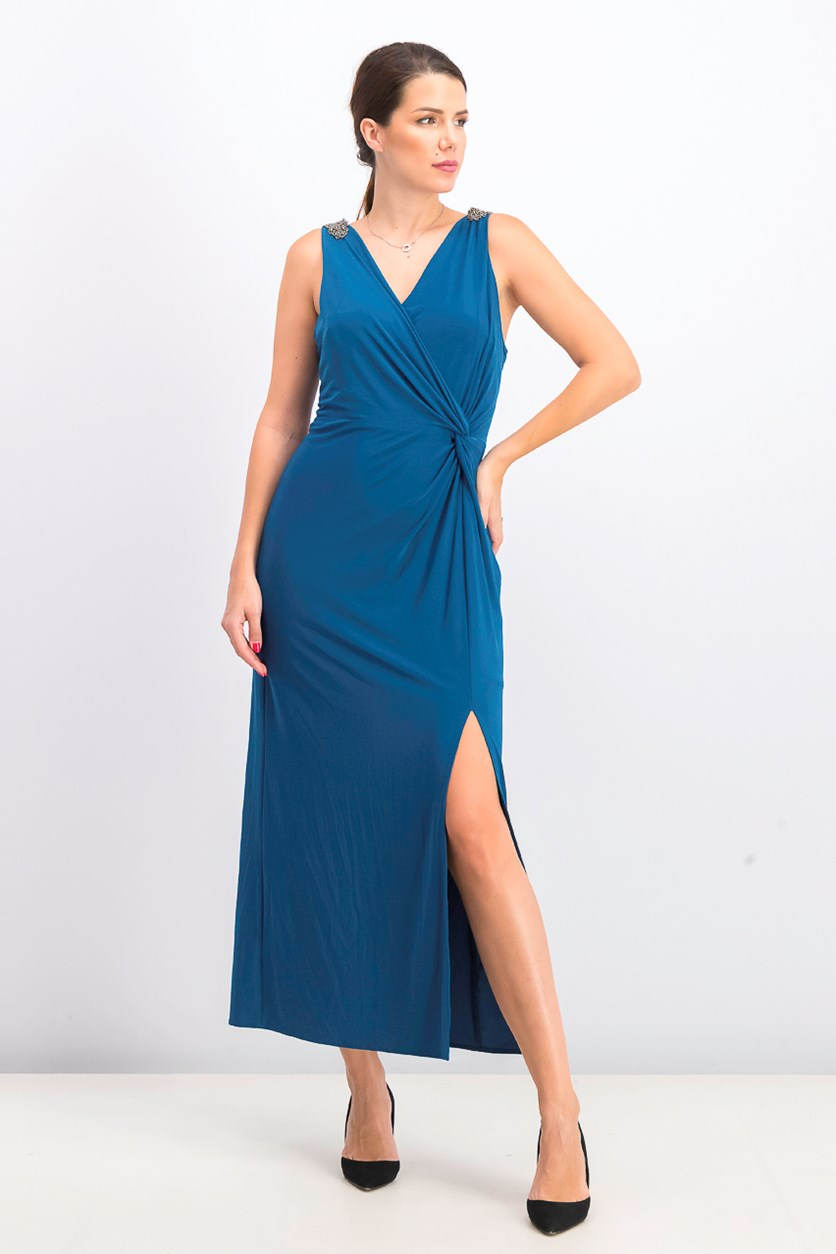Women's Petite Embellished Knot-Front Gown, Teal