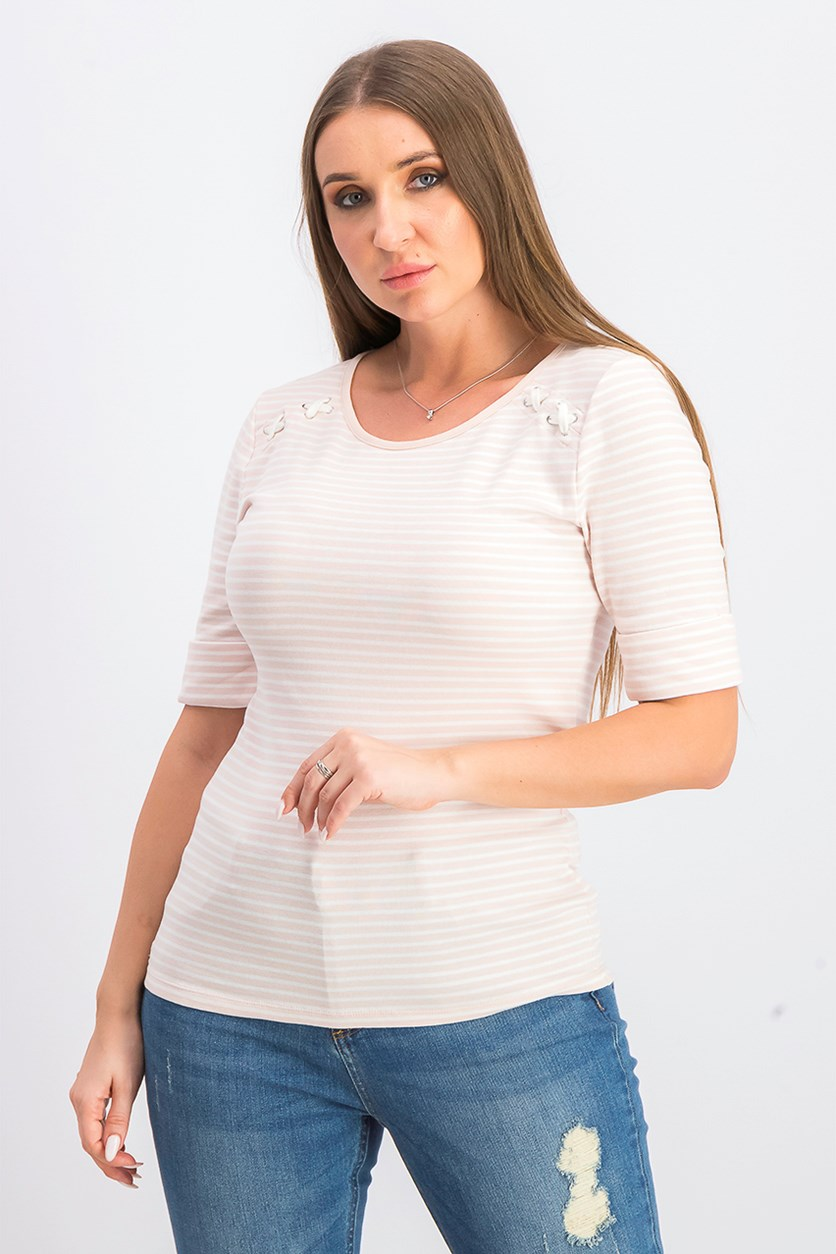 Women's Lace-Up Striped Pullover Top, White Rose