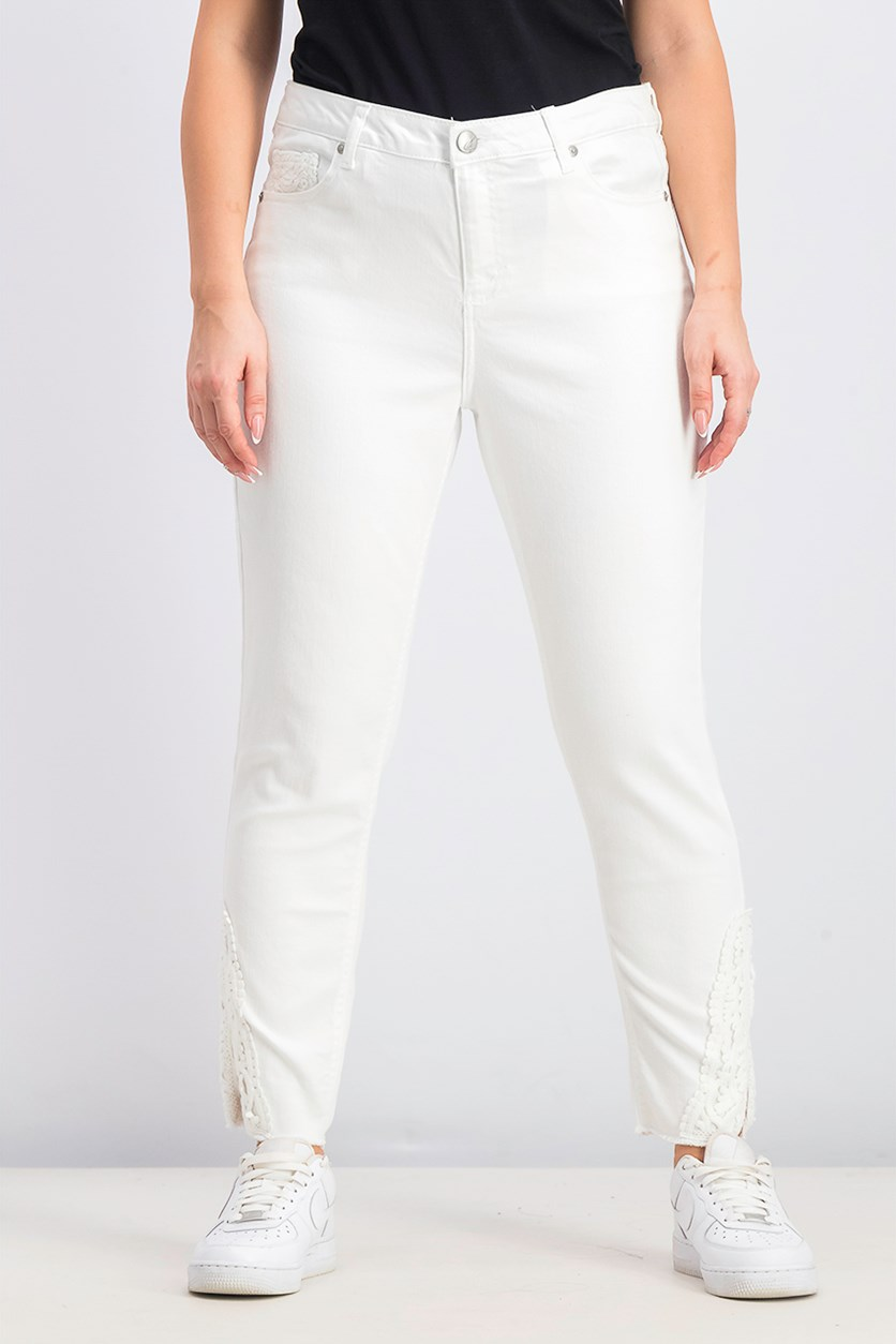 Women's Crochet-Trim Skinny Jeans, White