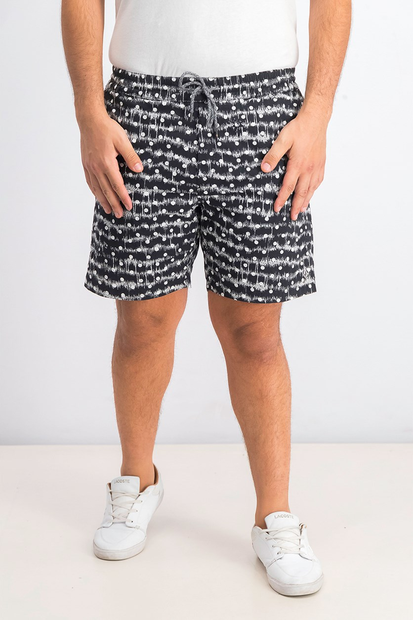 Mens Remote Print Above Knee Swim Trunks, Black/White