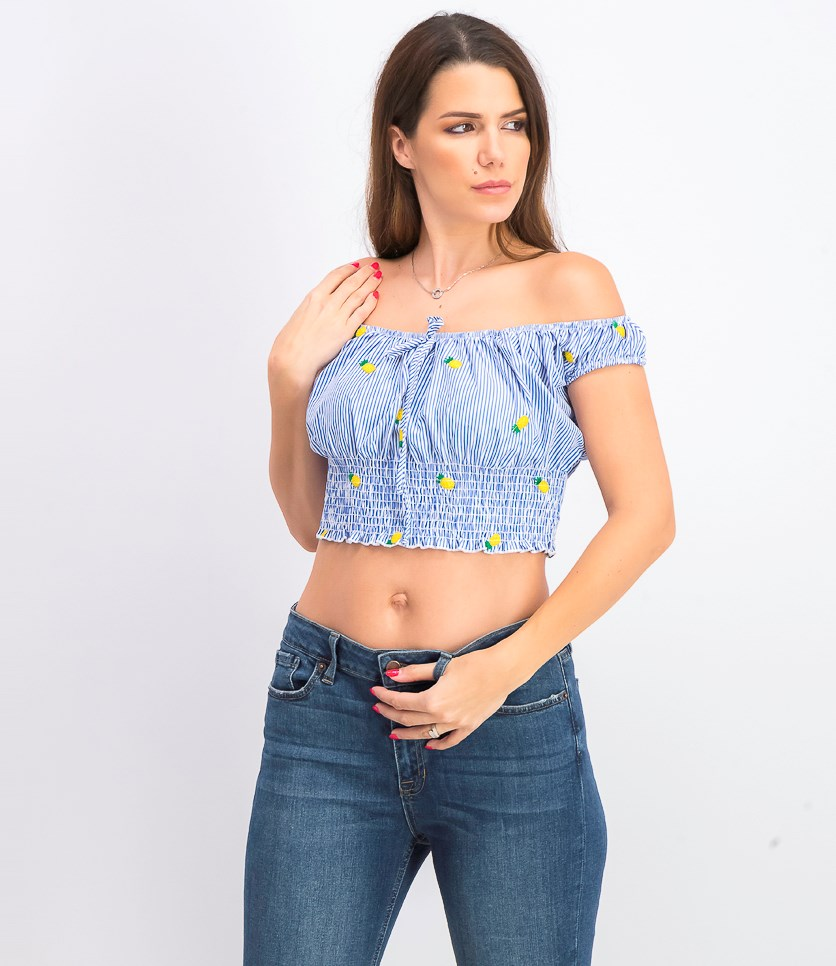 Polly & Esther Juniors' Off-The-Shoulder Crop Top, Blue