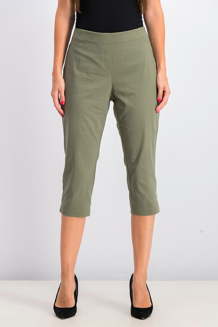 Women's Petite Pull-On Capri Pants, Olive Spring