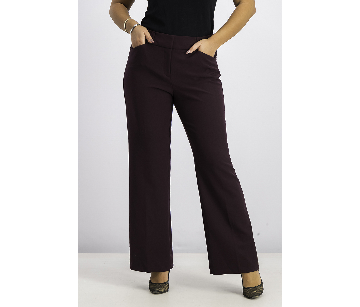 Women's  Curvy Bootcut Pants, Burgundy