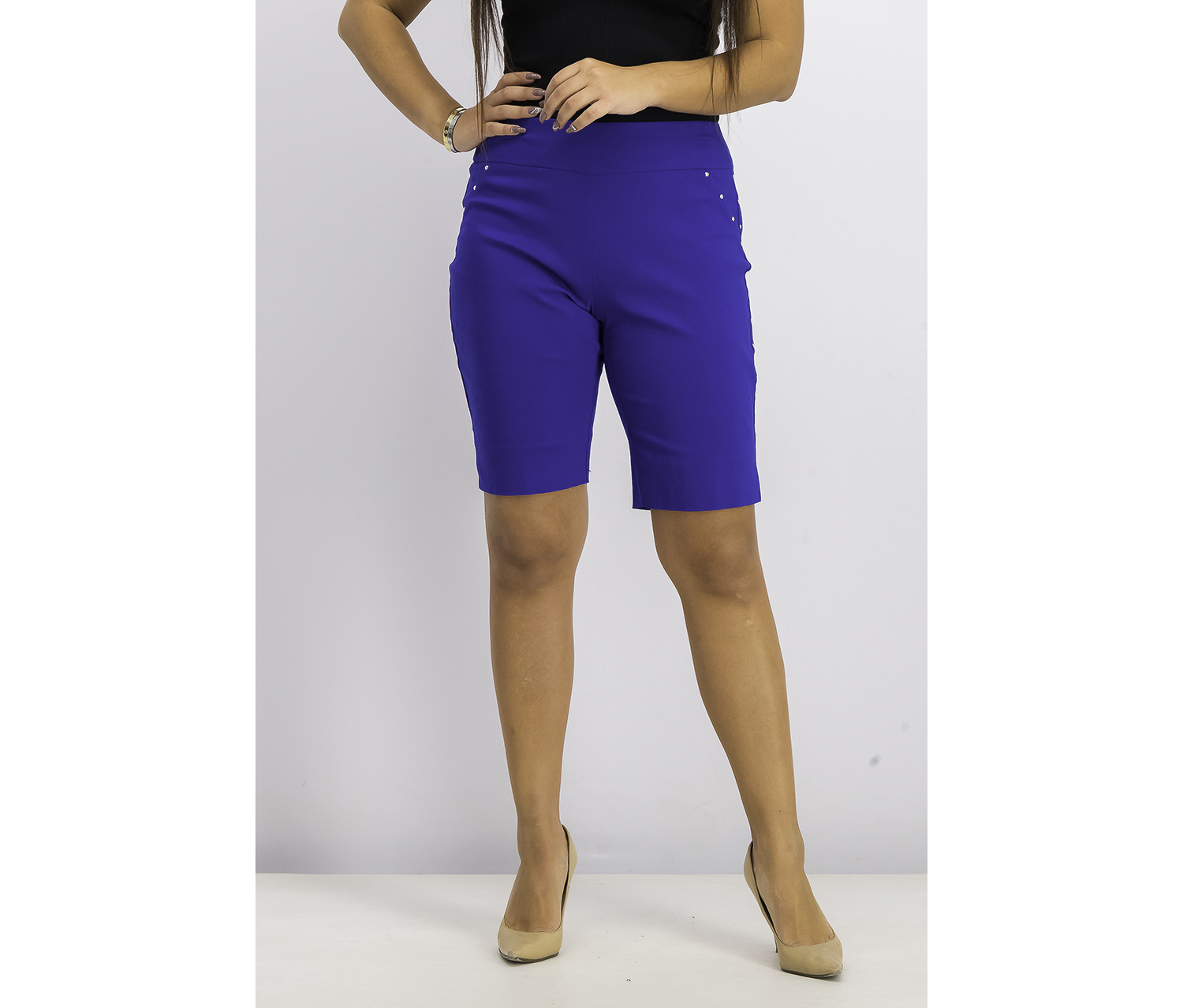 Women's Stud-Trim Bermuda Shorts, Bright Blue