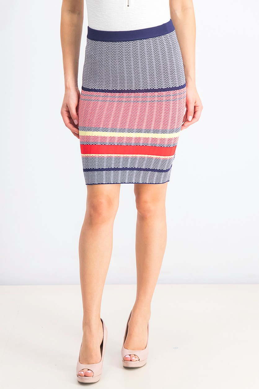 Women's Pull On Striped Sweater Skirt, Navy Blue/Red