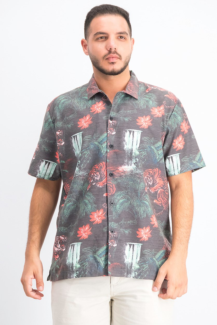 Men's Palm Tree Woven Tropic Tiger Shirt, Black Combo