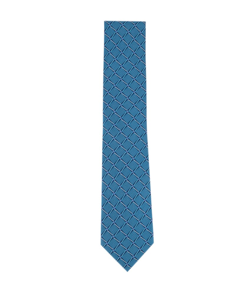 Men's Bastille Grid Silk Tie, Teal