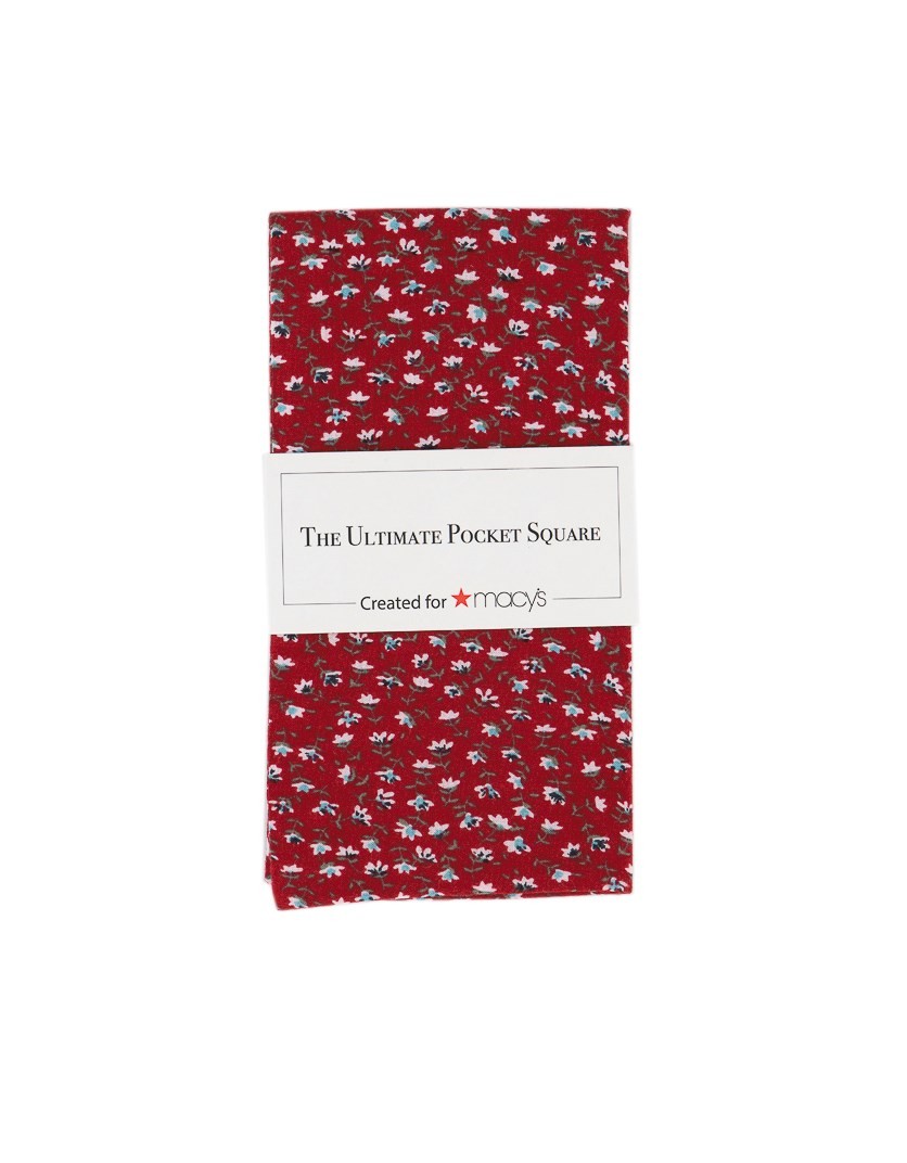 Men's Floral Pocket Square Handkerchief, Red