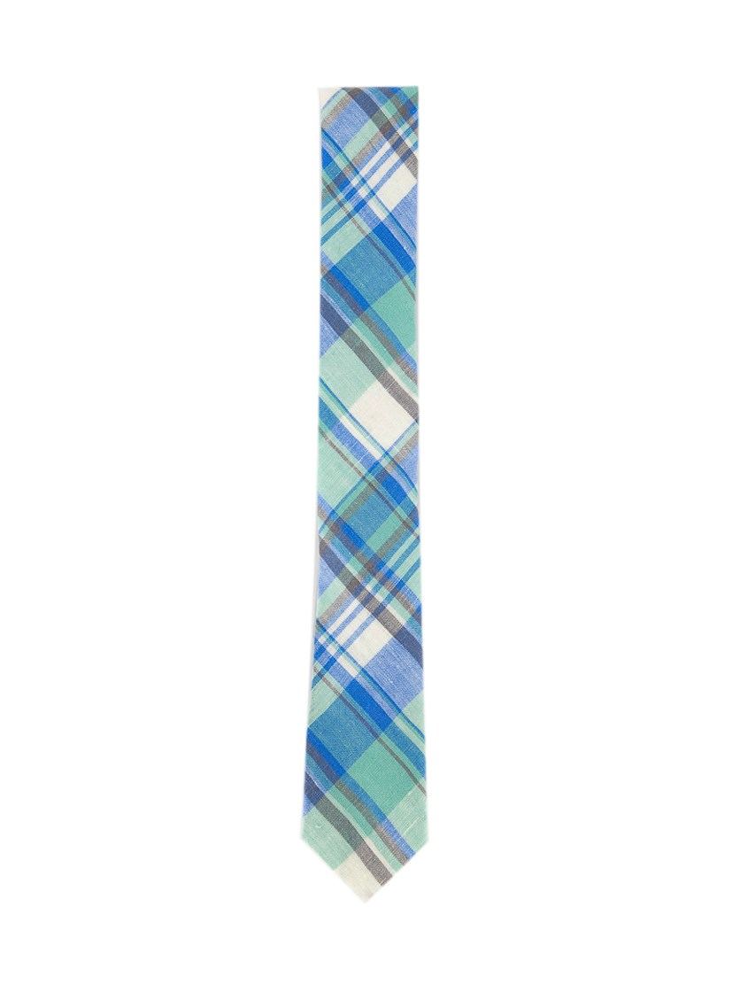 Men's Hanna Plaid Skinny Linen Tie, Blue/Green Combo