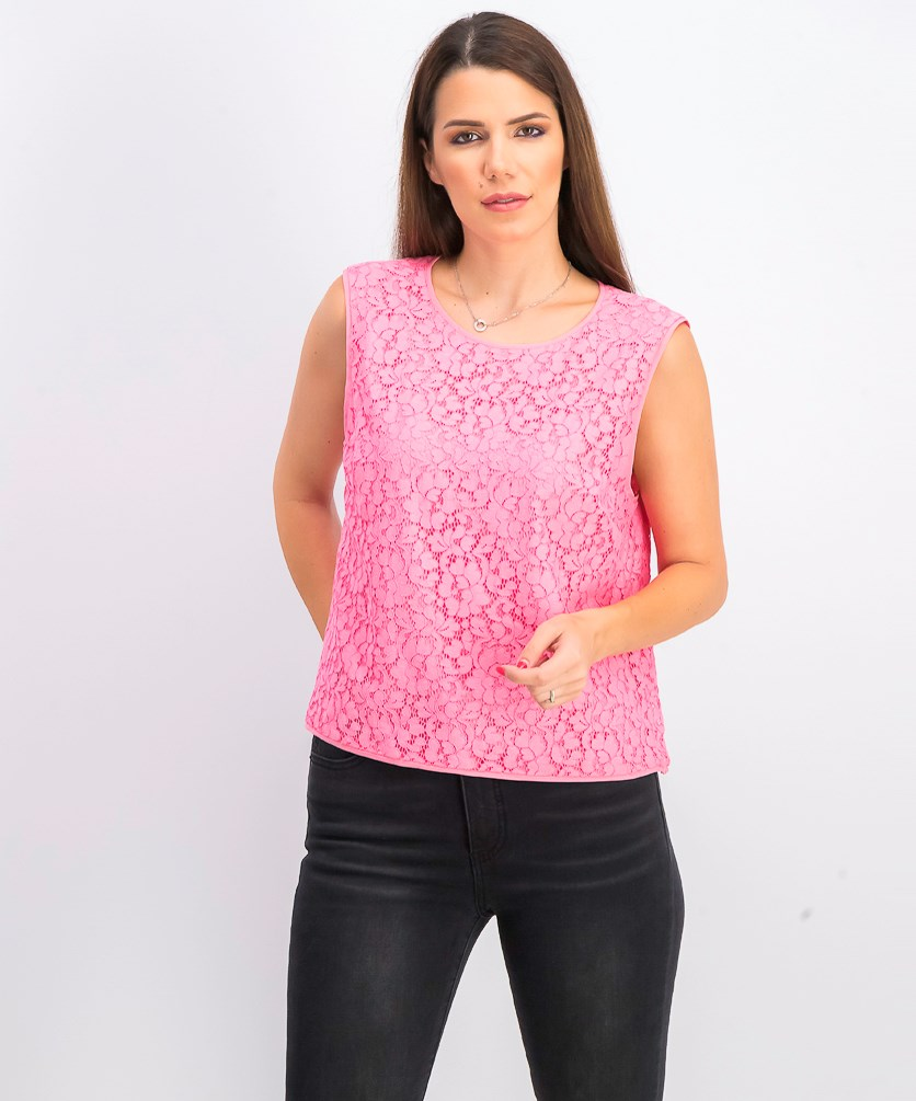 Womens Addie Sleeveless Lace Top, Pink