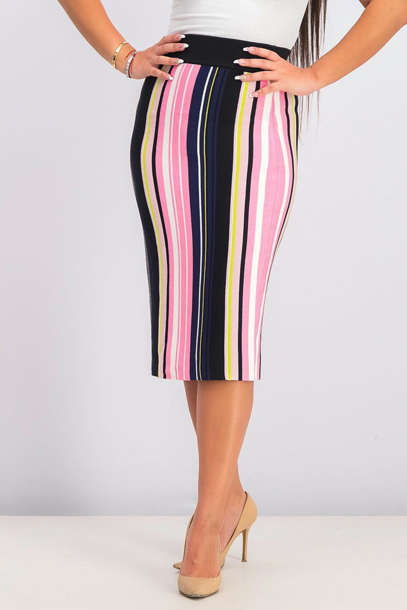 Women's Olivia Striped Sweater Skirt, Pink/Black