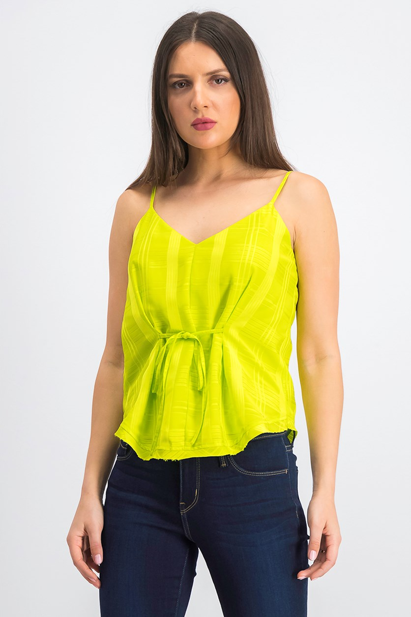 Women's Jasmin Plaid Tie-Front Camisole, Lime Green