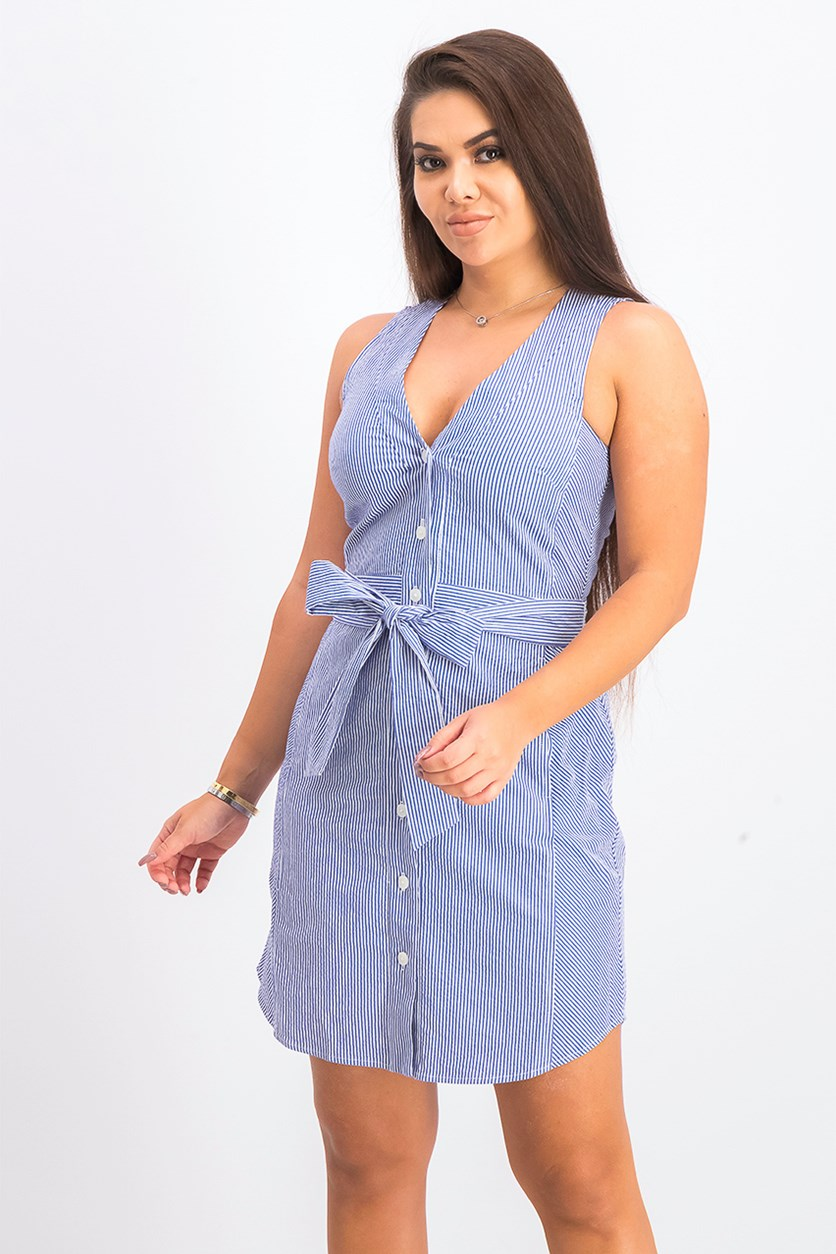 Womens Sabrina Sleeveless Seersucker Tie-Waist Cotton Dress, Blue/White