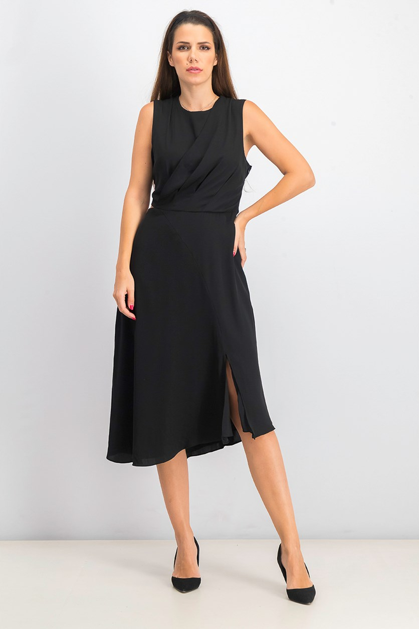 Women's Noemie Draped Asymmetrical Dress, Black