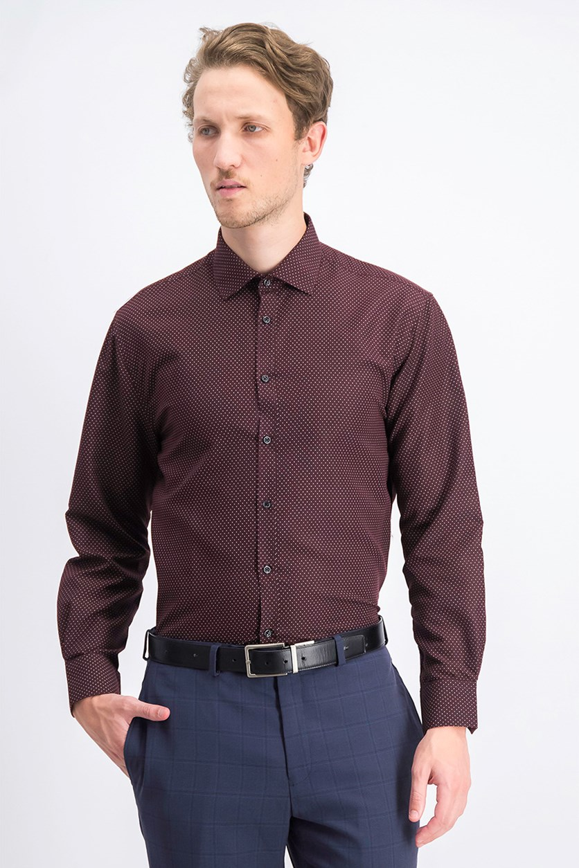 Men's Slim-Fit Print Dress Shirt, Burgundy