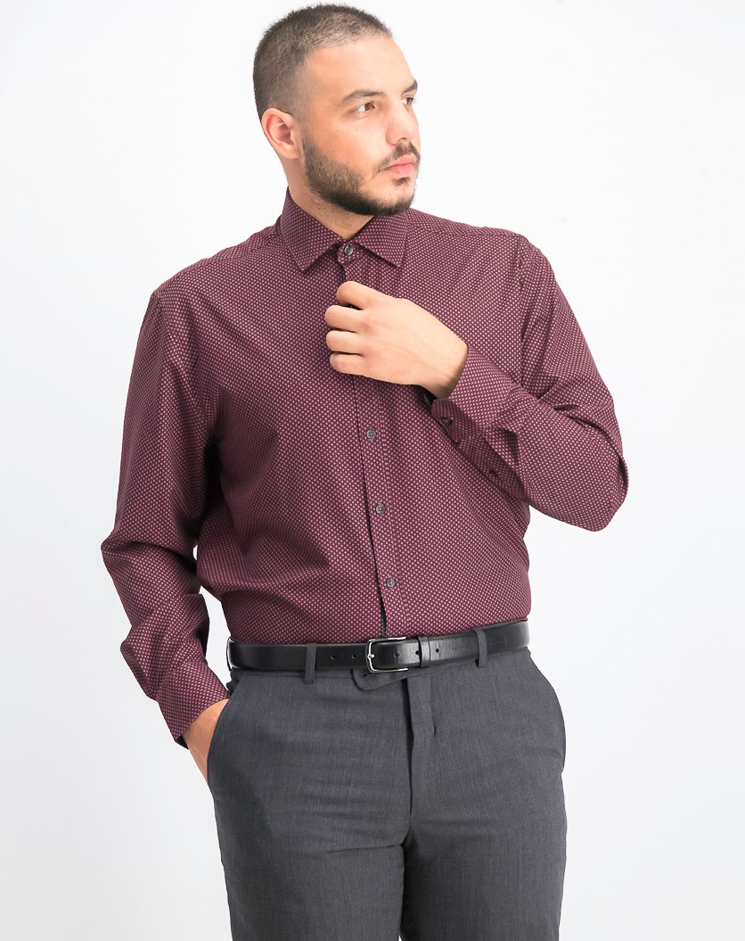 Men's Slim-Fit Performance Stretch Diamond Dress Shirt, Burgundy