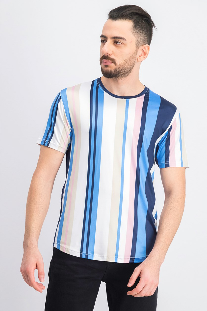 Mens Striped Crew Neck Casual Shirt, Navy/Pink