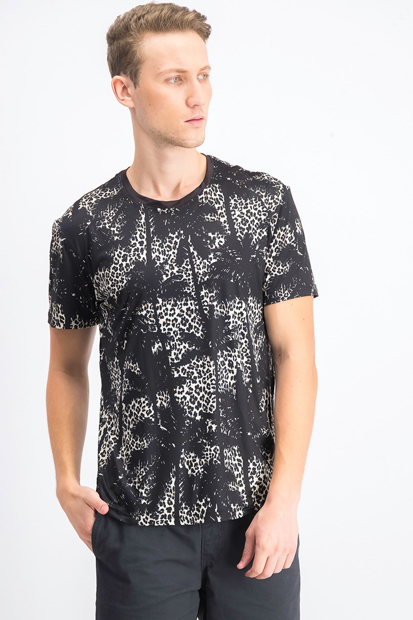 Mens Crew Neck Graphic T-Shirt, Leopard Black