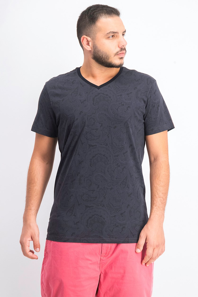 Men's Slim-Fit Paisley V-Neck T-Shirt, Black