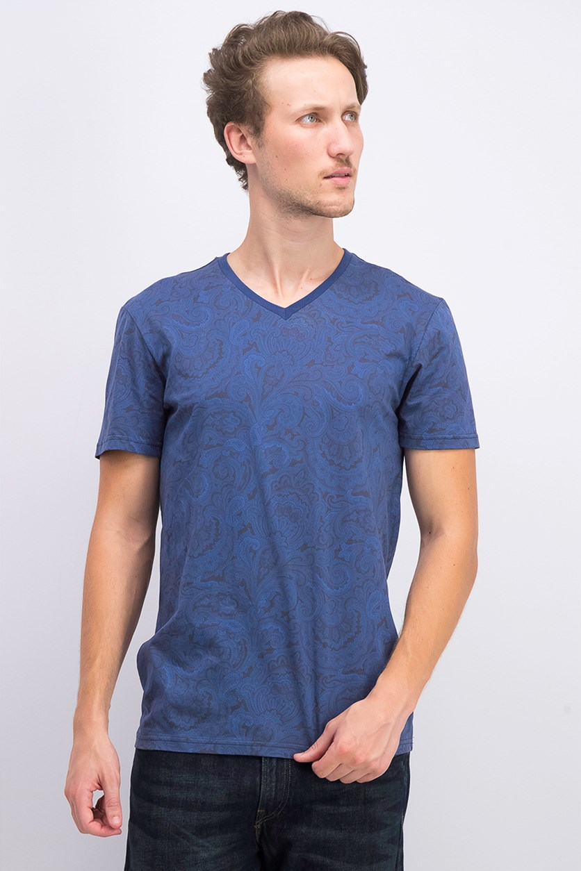 Men's Allover Print V-Neck T-shirt, Navy