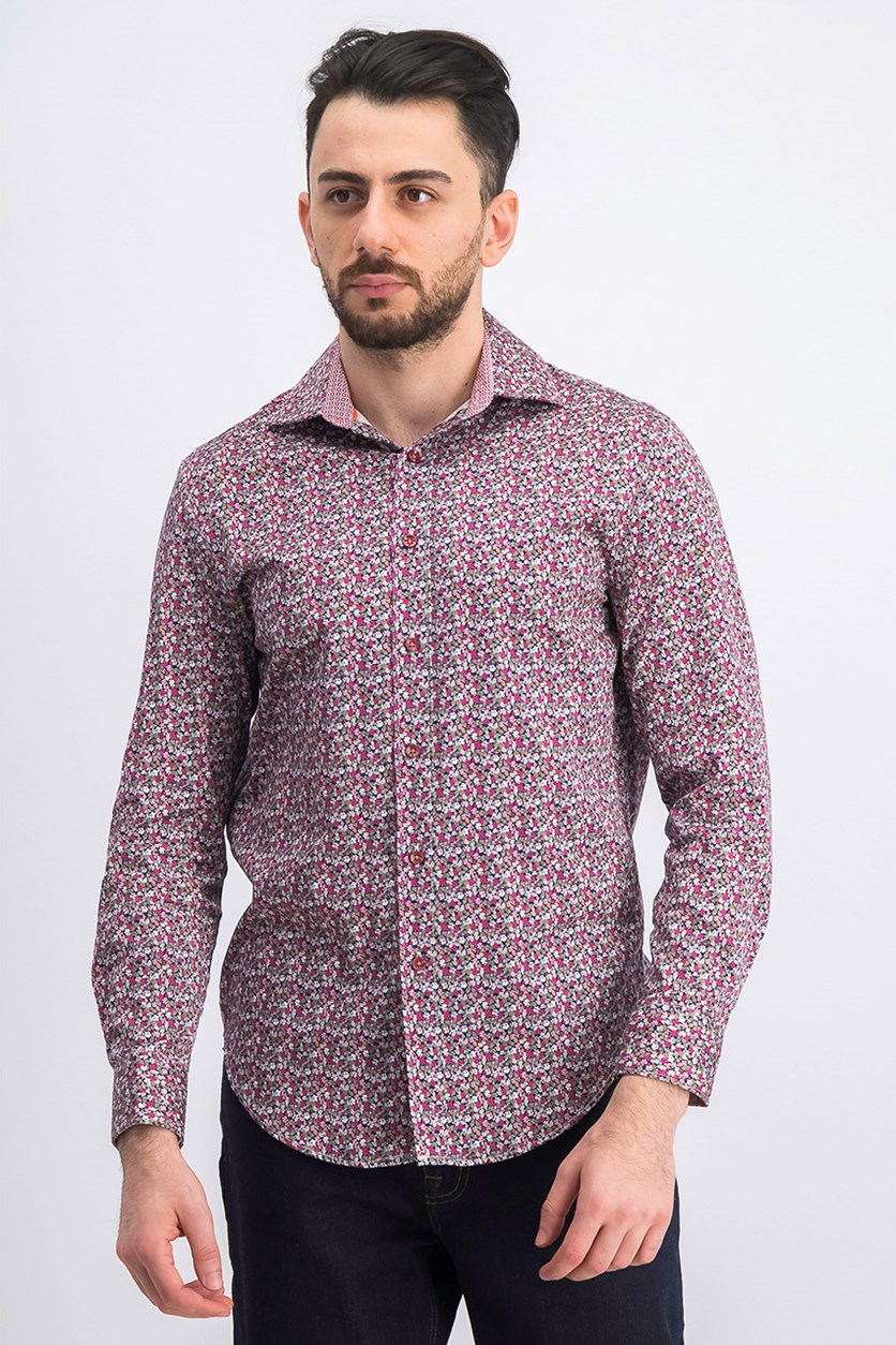 Men's Stretch Floral Shirt, Burgundy