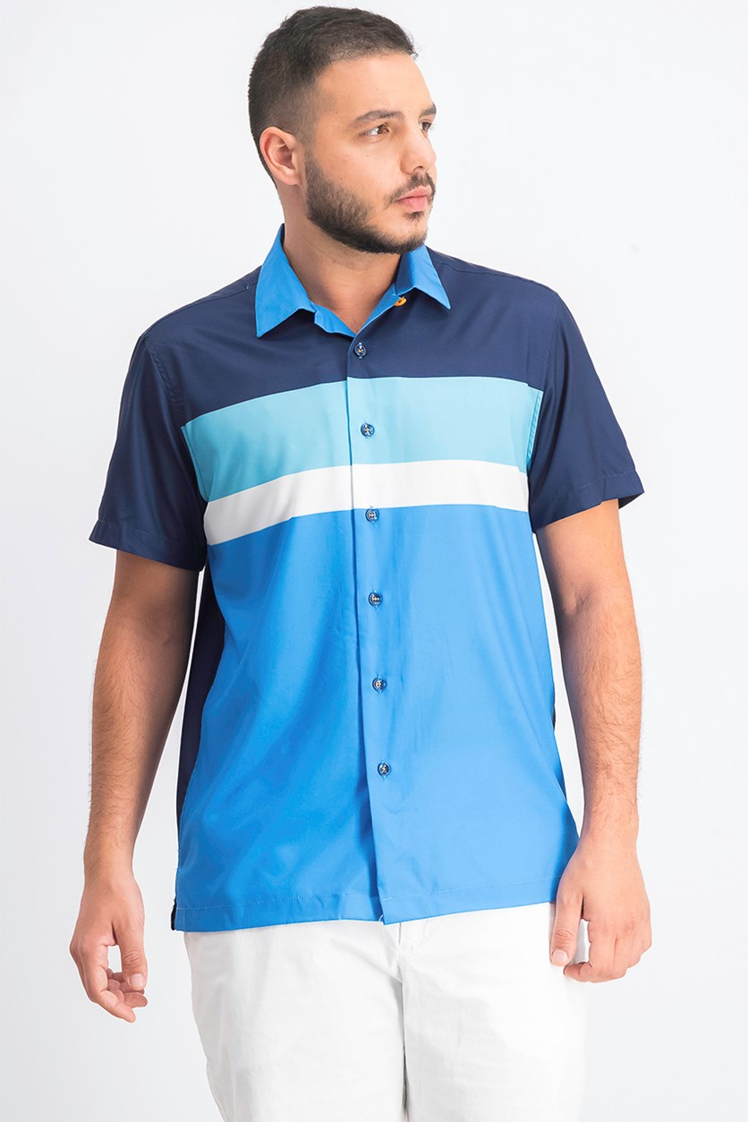 Mens Colorblock Button-Down Shirt, Blue Combo