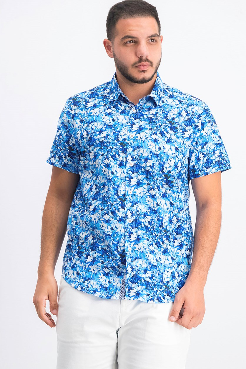 Men's Floral Short Sleeves Hawaiian Print Shirt, Aqua