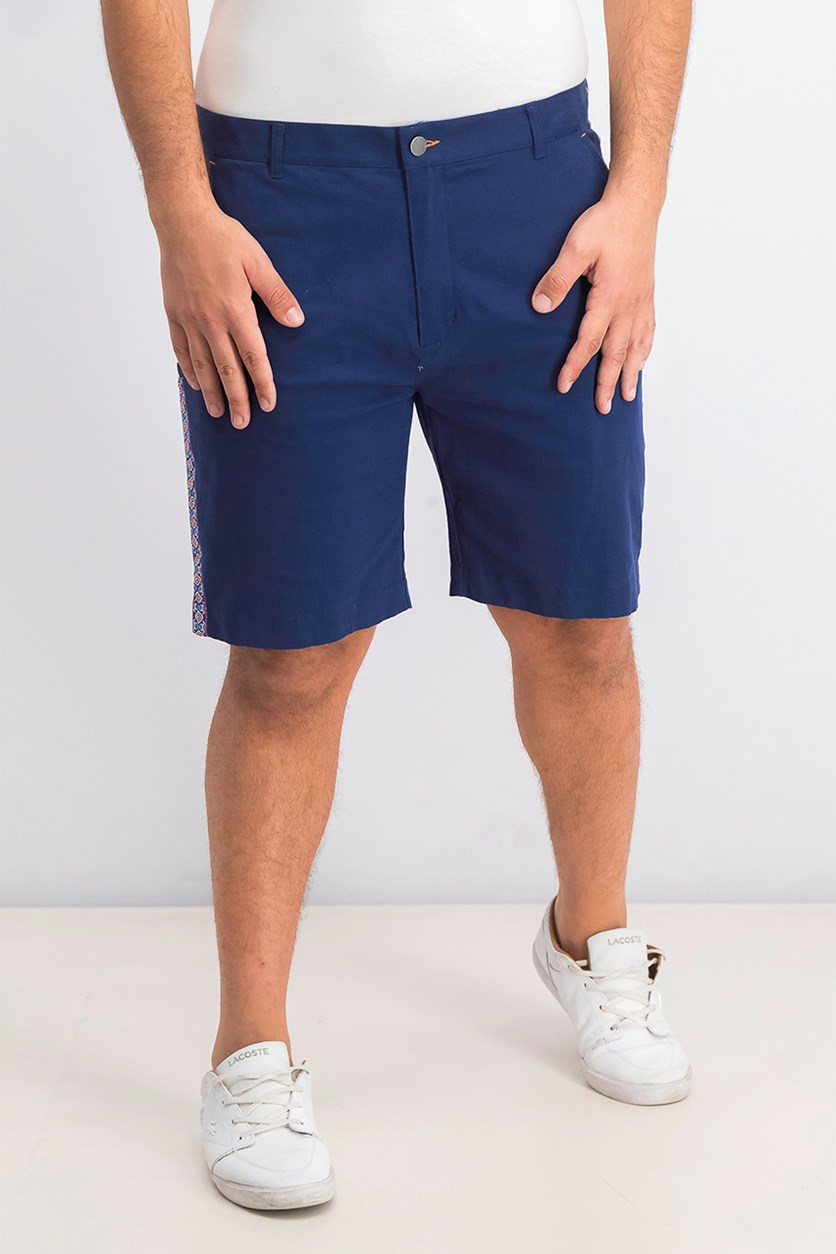 Men's Ornate Side Panel Chino Shorts, Navy Blue