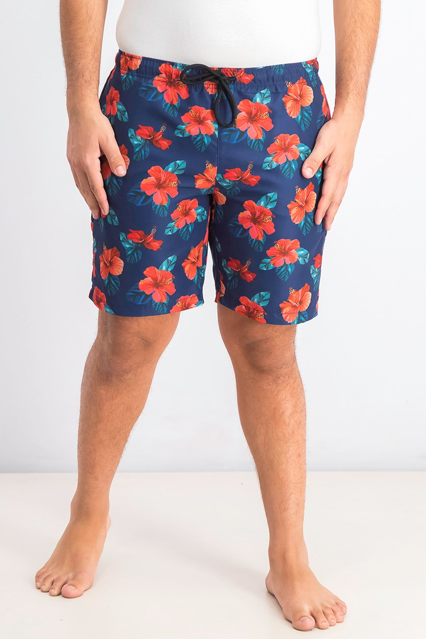 Men's Tropical Floral Board Shorts, Navy