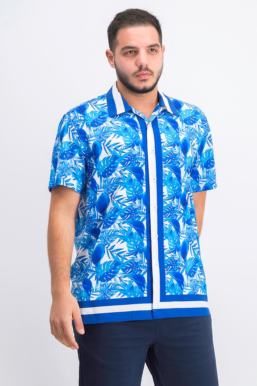Men's Paneled Leaf Print Camp Shirt, Navy/Blue