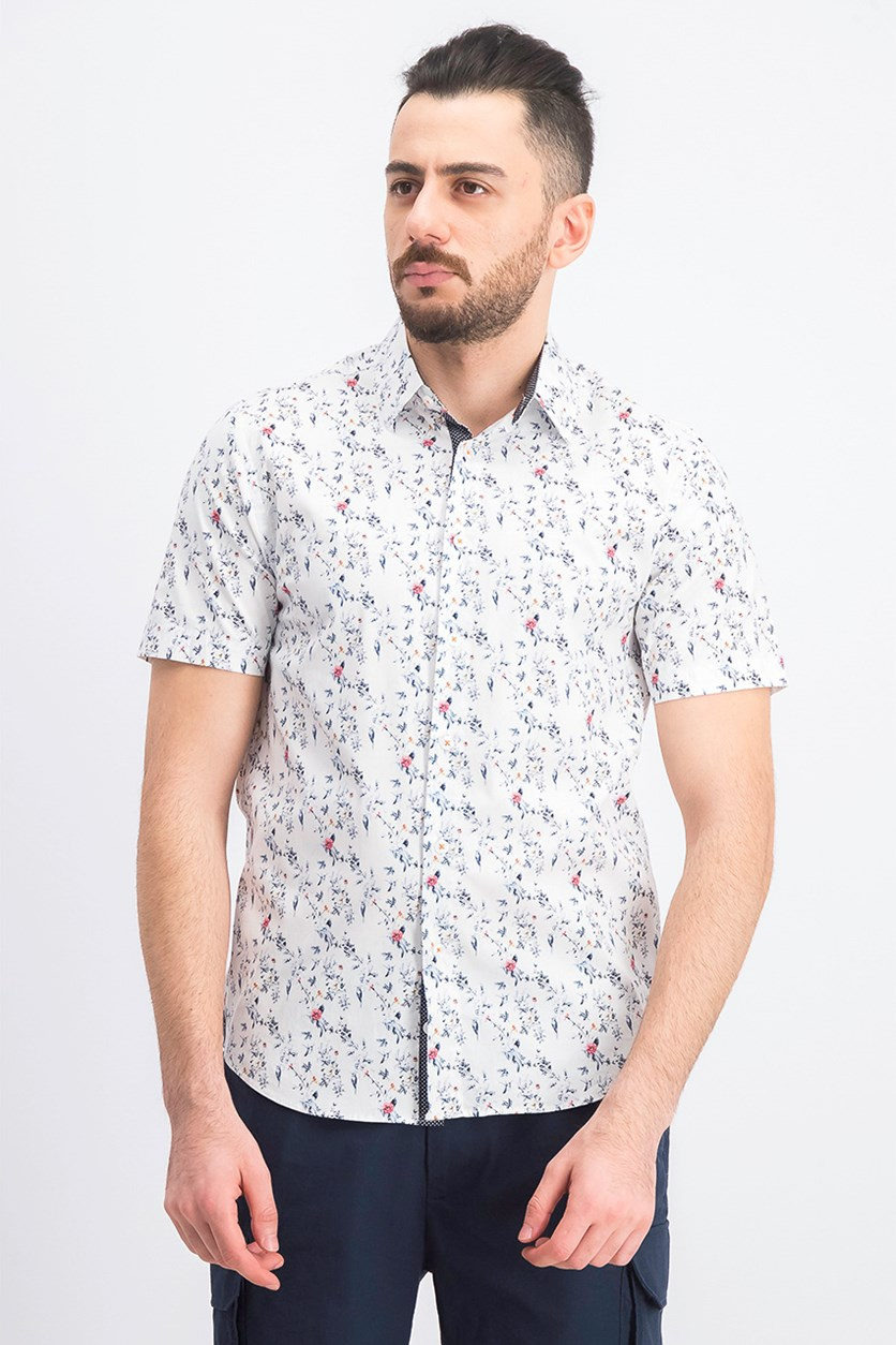 Men's Rose Micro Print Slim Fit Woven Shirt, White
