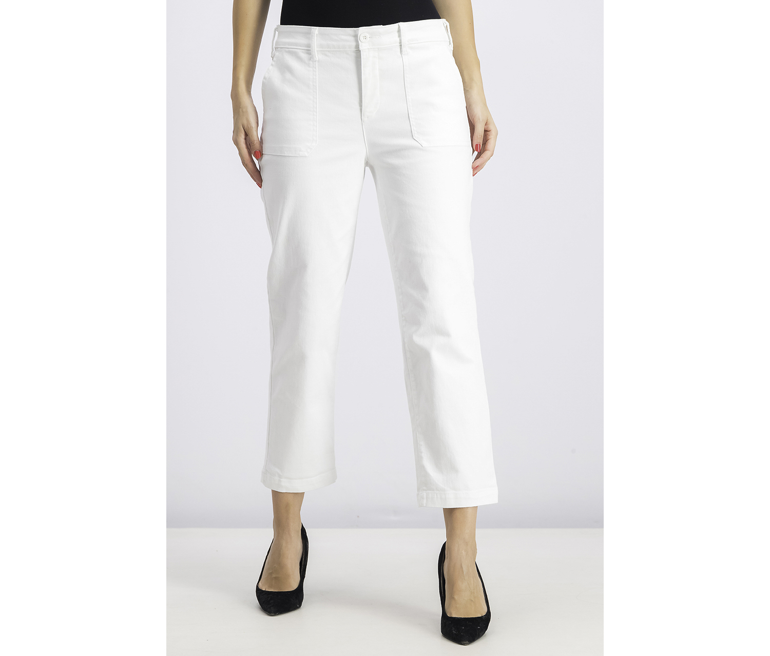 Womens Tummy-Control Straight Ankle Chino Jeans, Optic White