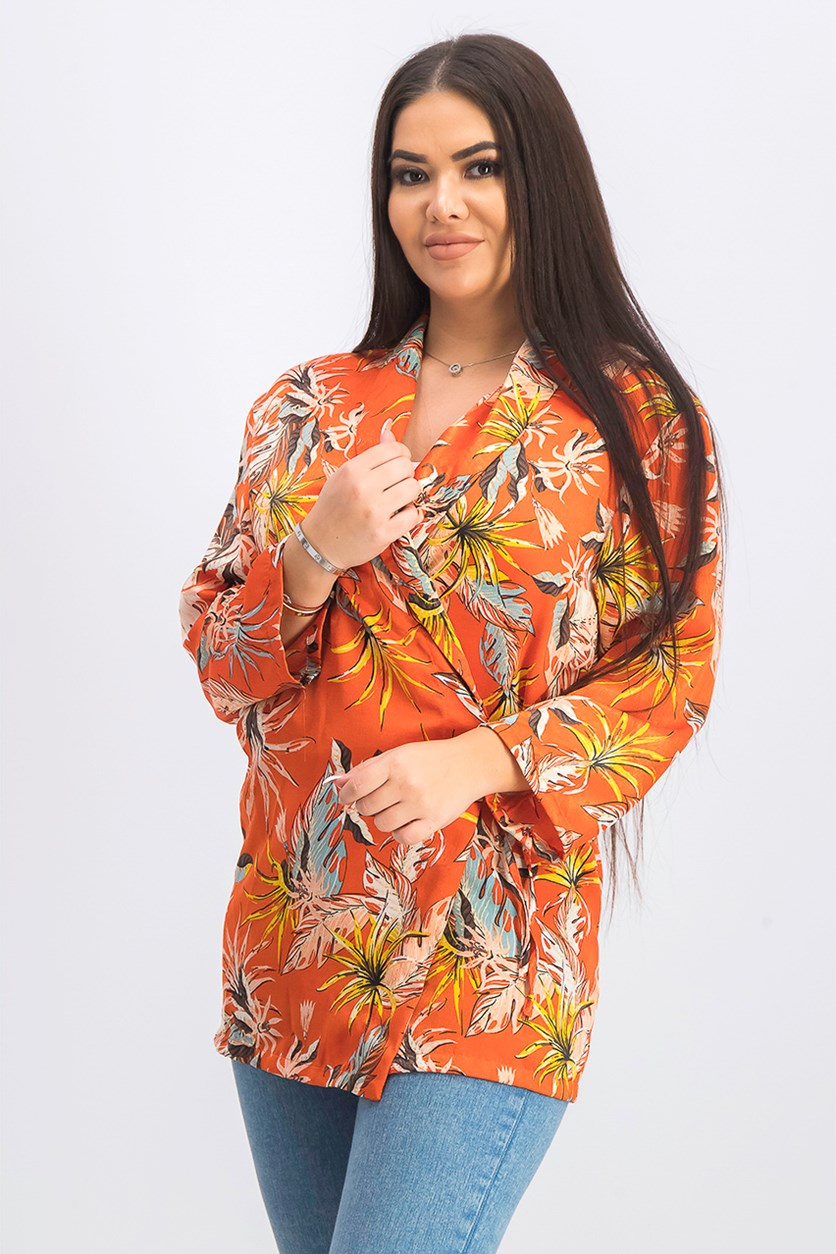 Women's Floral Print Top, Coral Combo