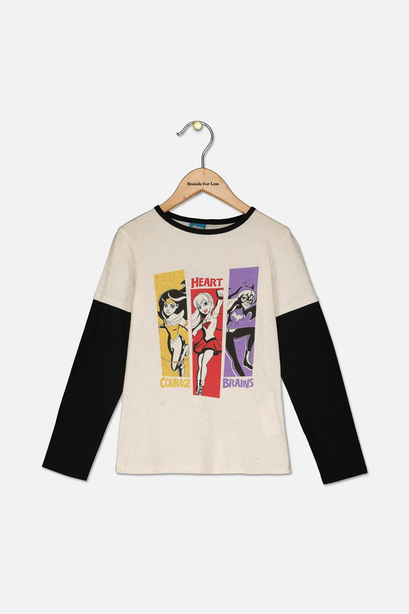 Girls Graphic Long Sleeve Top, Ivory/Black