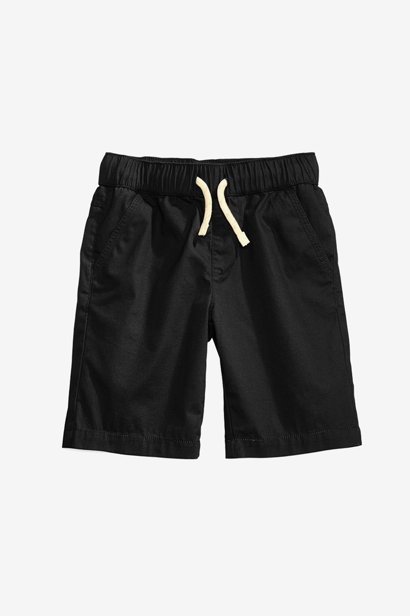 Toddler Boys Pull-on Shorts With Functional Drawstring, Deep Black