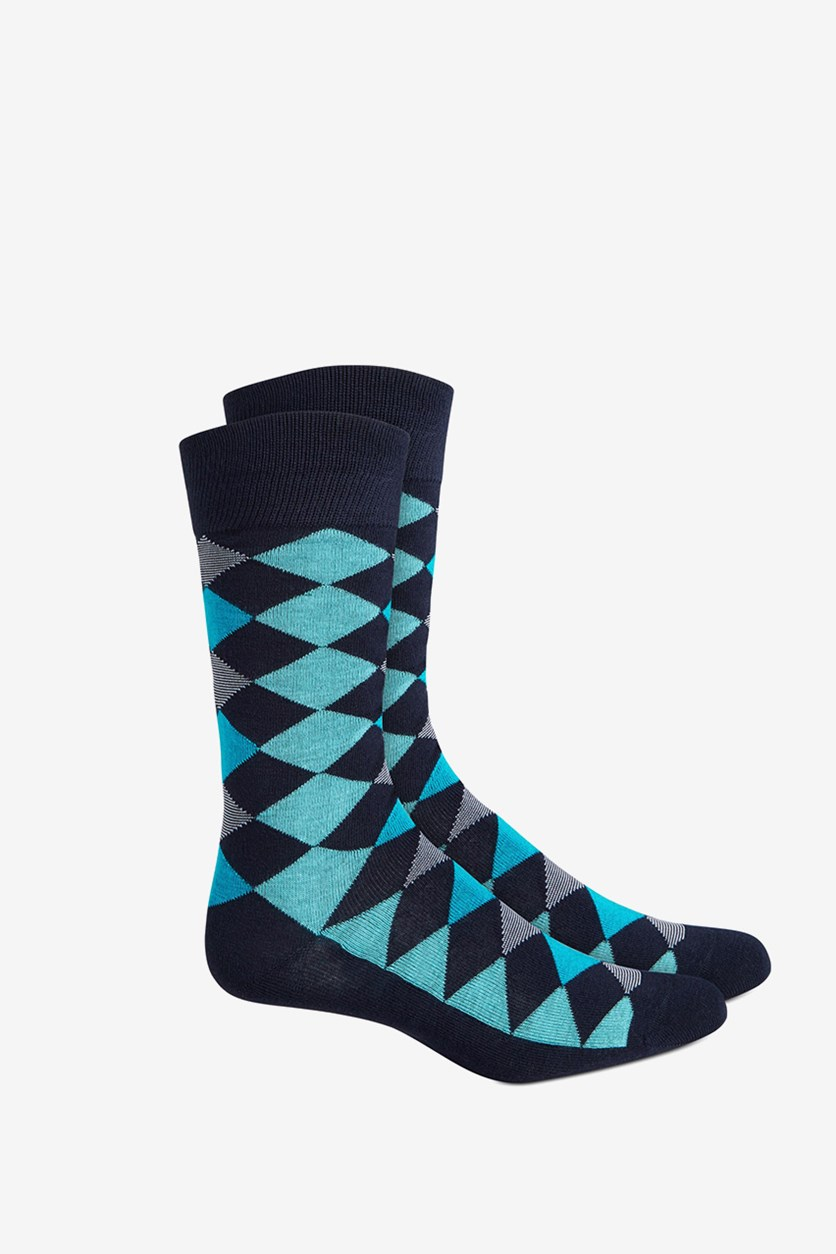 Men's Seamless Crew Dress Socks, Navy/Aqua