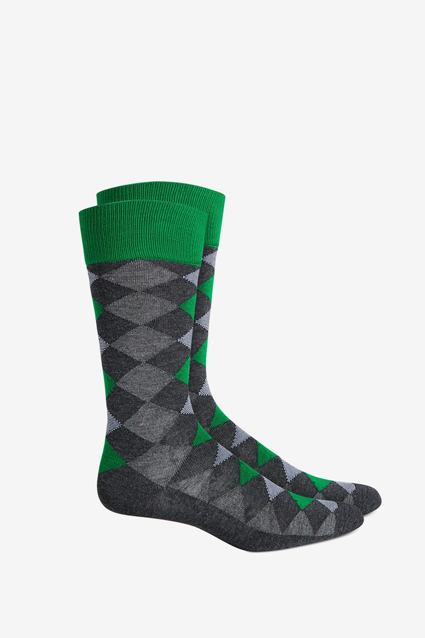 Men's Seamless Crew Dress Socks, Green/Grey