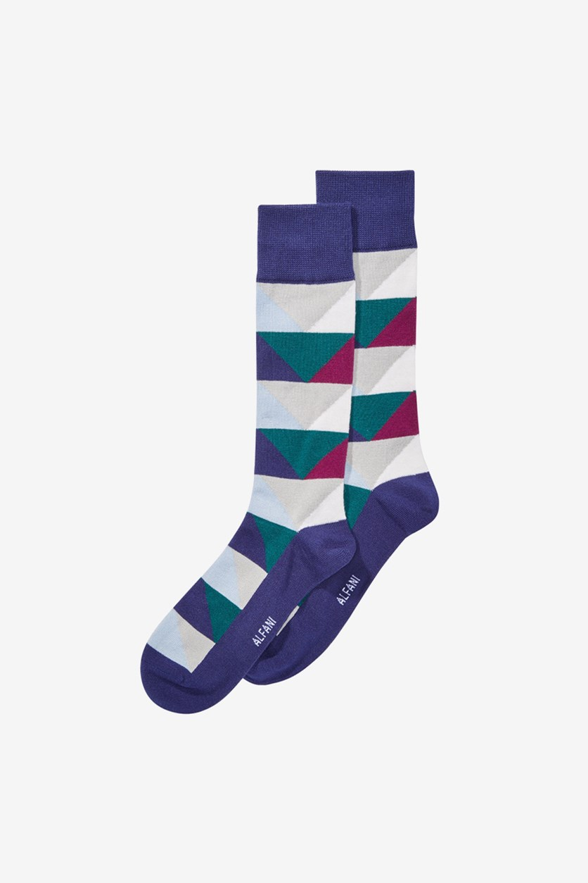 Men's Abstract Triangle Socks, Blue