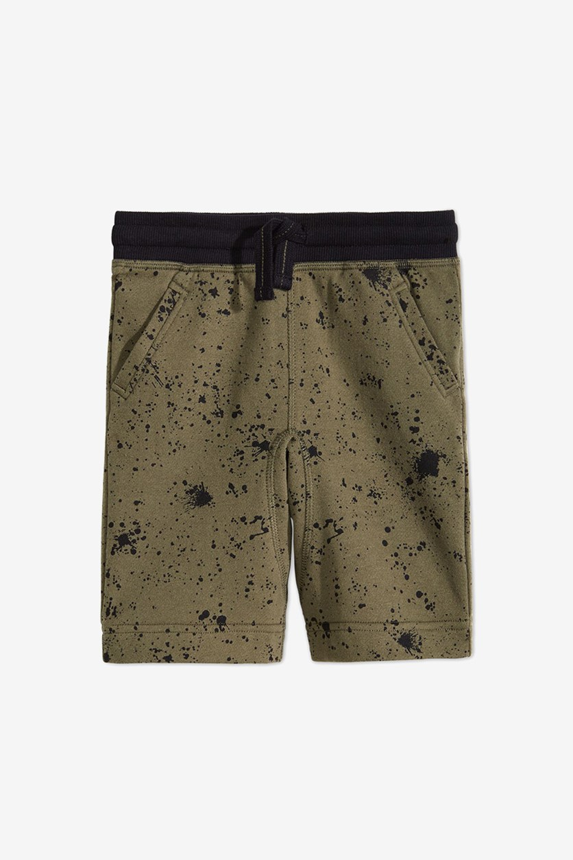 Toddler Boys Ink Splatter Shorts, Spiced Sage