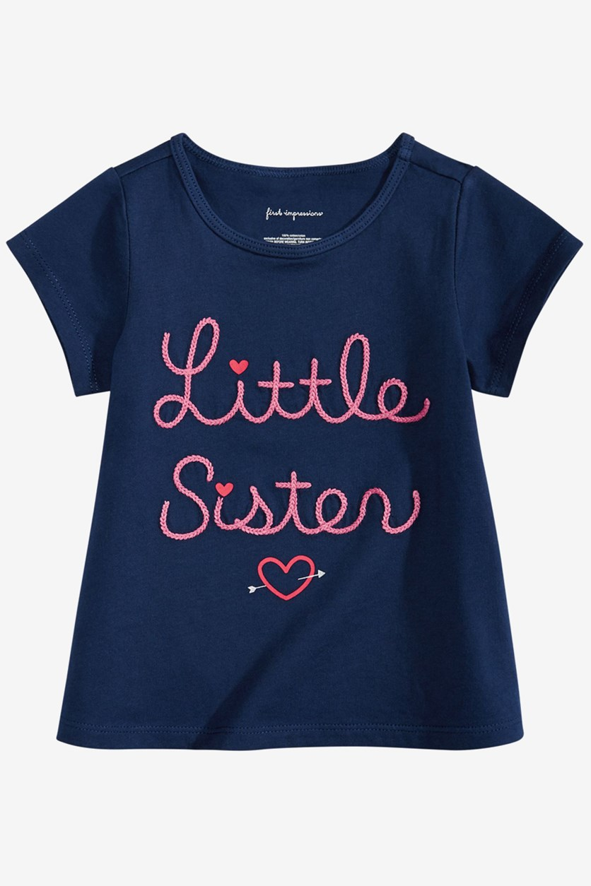 Toddler Girls Embroidered Tee, Medieval Blue