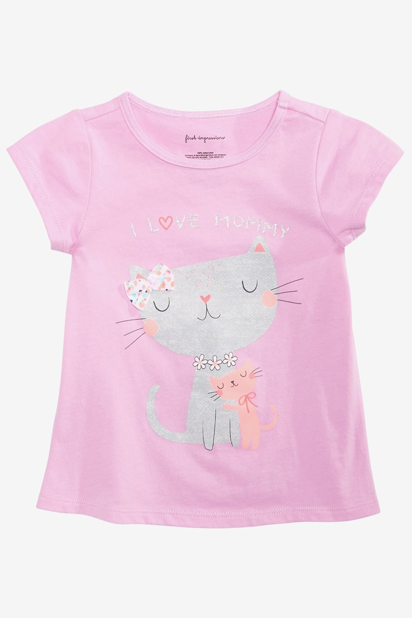 Baby Girls Love Mommy Cat Tee, Orchid Fairy
