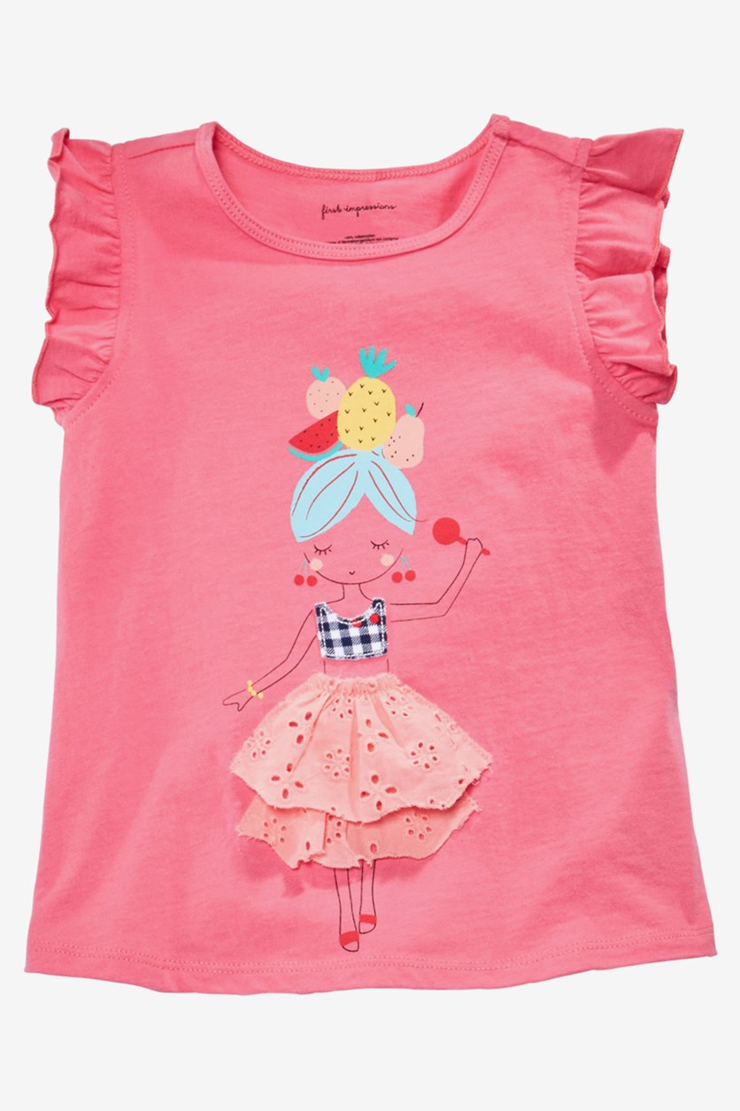 Baby Girls Ruffle Sleeve Graphic Top, Floral Petal