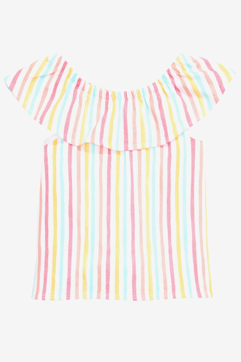 Baby Girls Flounce Striped Top, Bright White