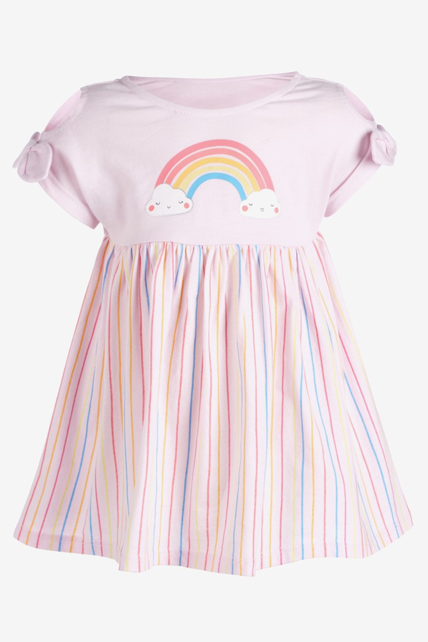 Toddler's Girls Rainbow Striped Cotton Dress,  Pink Combo