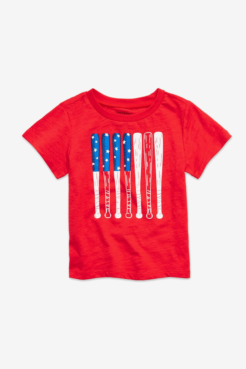 Baby Boys Bowtie & Suspenders Graphic T-Shirt, Cherry Flame