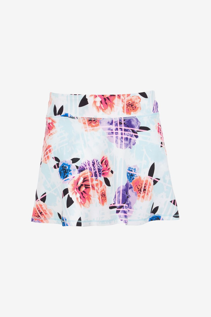 Toddlers Girls Floral-Print Skort, Mint Green/Purple/Peach