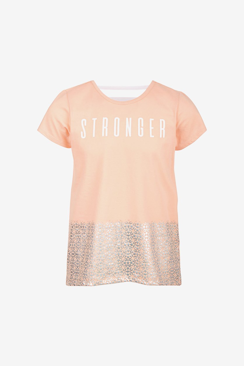 Girls Stronger Graphic T-Shirt, Iced Peach