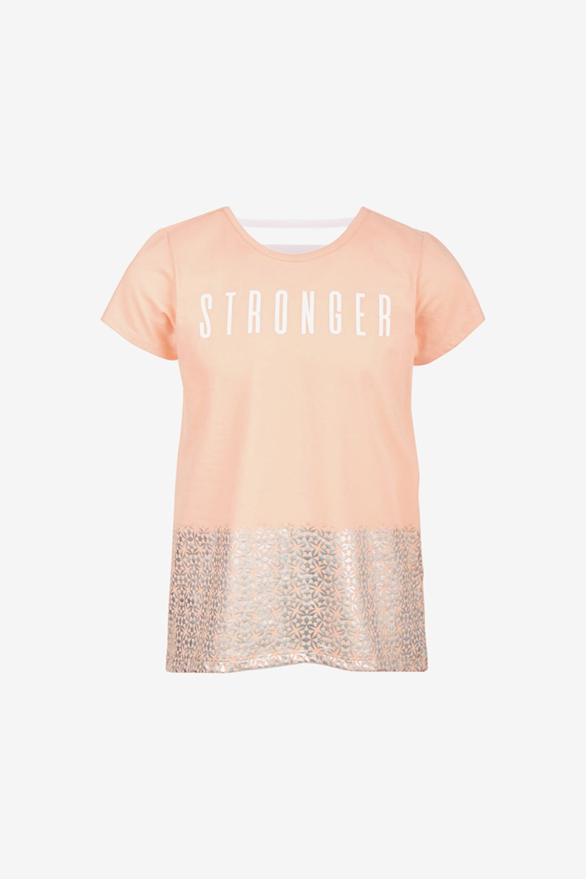 Toddler Girls Stronger Graphic T-Shirt, Iced Peach