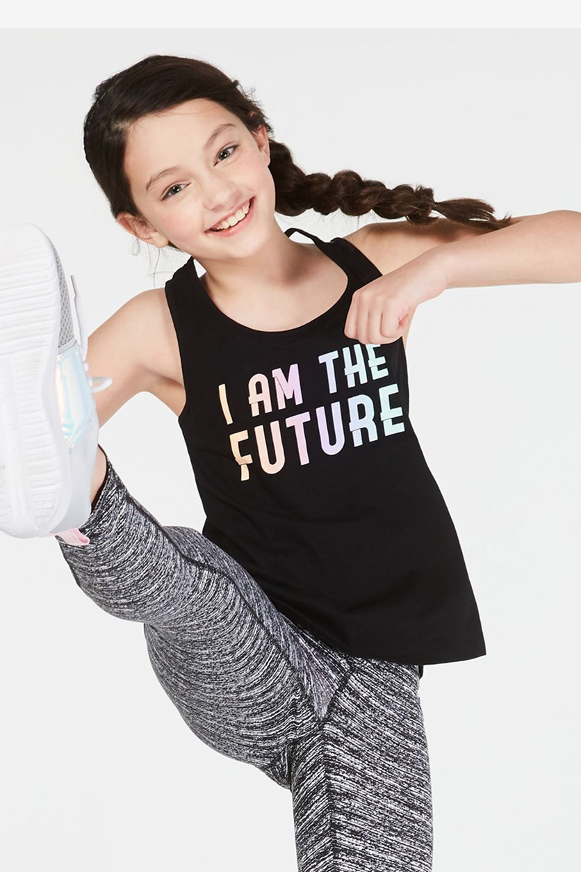 Big Girls Future-Print Tank Top, Noir